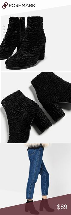 🆕 Zara fur ankle boots Brand new with tags, sold out everywhere!!! Zara Shoes Ankle Boots & Booties