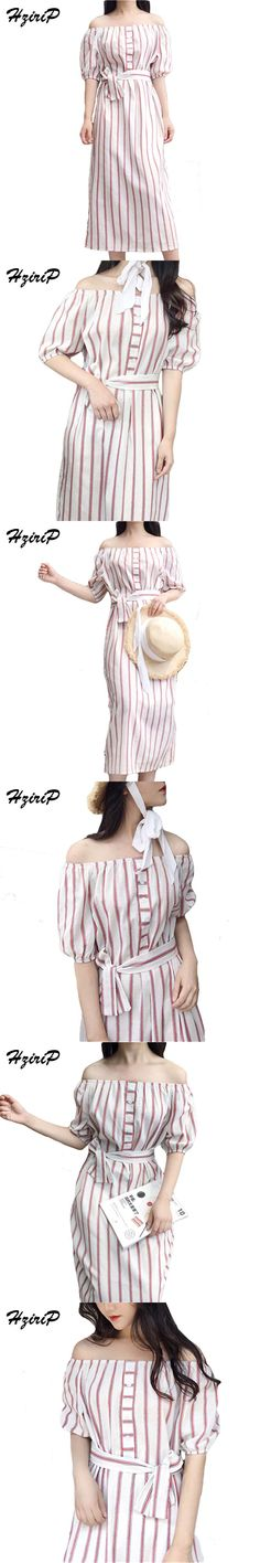 Hzirip Sweet Striped Dress Beach Off Shoulder Bandage Lace Up Waist 2017 Summer Dresses Slash Neck Lantern Fashion Vestidos