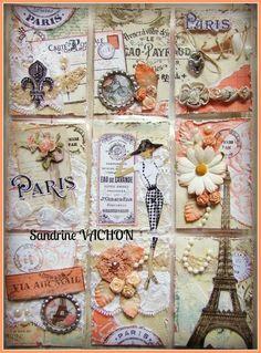 Paris Mixed Media Pocket Letter Pocket Pal, Pocket Cards, Atc Cards, Journal Cards, Pocket Scrapbooking, Scrapbook Paper, Shabby, Inchies, Project Life Cards