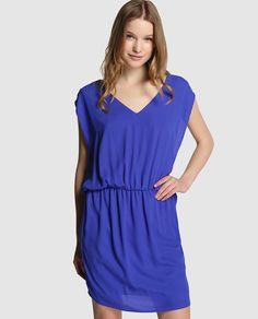 Vestido de mujer Naf Naf azul klein sin mangas