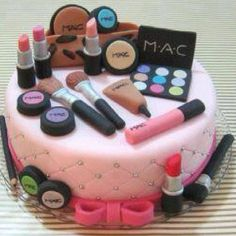 cute Mac makeup cake! <<MY PINTEREST SUGGESTED ME TO PUT THIS ON MY MAKE UP BOARD LMAO IM TOO CONFUSSED