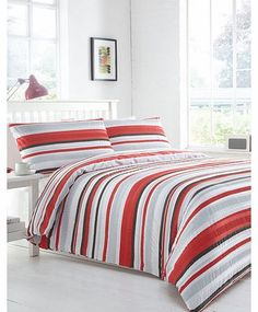 Bhs Printed Stripe Seersucker Bedding Set, red/grey This red and grey bedding set has a stylish and subtle seersuker effect, adding a level of texture to the stripe pattern. It has a smooth underside finish. Our essentials printed bedding range is now  http://www.comparestoreprices.co.uk//bhs-printed-stripe-seersucker-bedding-set-red-grey.asp