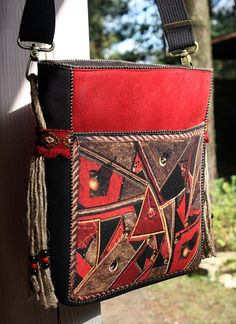 Bohemian Red Shoulder Bag One of a Kind Ethnic Fashion Womens