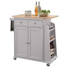 35 inch X 18 inch X 34 inch Natural And Gray Rubber Wood Kitchen Cart, Beige Portable Kitchen Island, Rolling Kitchen Island, Kitchen Island Cart, Modern Kitchen Island, Kitchen Islands, Kitchen Carts, Island Table, Smart Kitchen, Acme Furniture