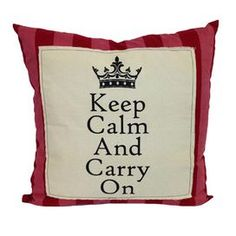 "Striped cotton-blend pillow with a typographic motif.   Product: PillowConstruction Material: Cotton and polyesterColor: Cream, red and pinkFeatures:  Insert included  Knife edgeStripe pattern Dimensions: 20"" x 20"""