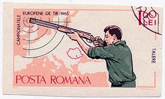 1965 Romanian Stamp - Campionatele Europene de Tir (alexjacque) Tags: sports vintage ephemera stamp romania guns shooting 1960s postage 1965
