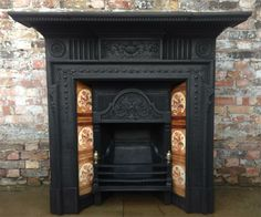 Grand antique Victorian tiled fireplace Tiled Fireplace, Victorian Fireplace, Victorian Furniture, Stoves, Fireplaces, Hearth, Period, Warm, Antiques