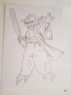"""A drawing of yoda from the star wars films  Free uk postage  Dimensions: 9"""" x 12""""  All sketches are done on 100g/m2 sketching pape"""