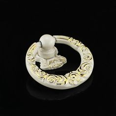 Dresser Pulls Handles Drop Rings Pulls Ivory White Gold Drawer Pulls Knobs  Vintage Style Kitchen Cabinet