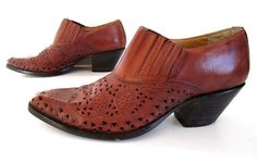 vintage 1980s 1990s burnt caramel brown leather by luluvoodoo