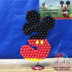 Mickey Mouse 3rd Birthday Balloon Sculpture. Age balloon decor #PartyWithBalloons