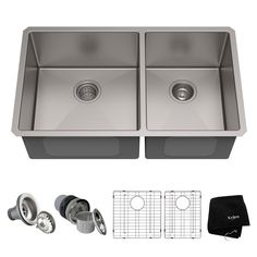 Buy the Kraus Stainless Steel Direct. Shop for the Kraus Stainless Steel Double Basin 16 Gauge Stainless Steel Kitchen Sink for Undermount Installations with Split - Basin Racks and Basket Strainers Included and save. Double Bowl Kitchen Sink, New Kitchen, Kitchen Ideas, Kitchen Reno, Kitchen Designs, Kitchen Storage, Hidden Kitchen, Kitchen Board, Basement Kitchen