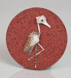 """Bird"", tiny, miniature seashell mosaic or magnet on the cork."