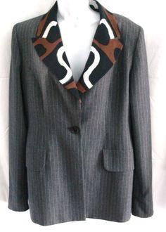 Gattinoni Tempo Blazer Jacket 100% Wool Made In Italy Size 12 US #GattinoniTempo #JacketBlazer