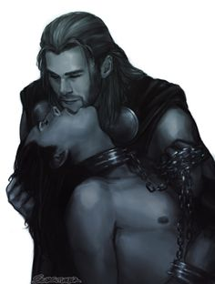 Thor/Loki - Chains>HOLY MOTHER THIS IS GORGEOUS. AND HOT. SO HOT.