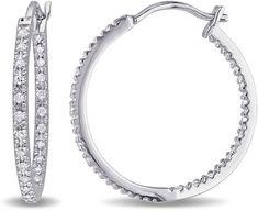 Fine Jewelry 1/3 CT. T.W. Diamond Sterling Silver Hoop Clip Earrings jUOfq