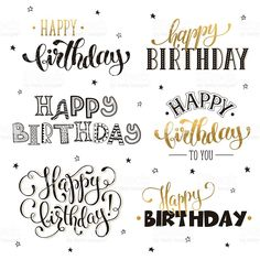 happy birthday phrases royalty-free stock vector art