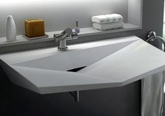 Contemporary bathroom sinks in unusual shapes are a wonderful way to personalize your modern bathroom design and decor Contemporary Bathroom Sinks, Bathroom Sink Design, Modern Sink, Concrete Bathroom, Modern Bathroom Design, Modern Room, Bathroom Fixtures, Modern Design, Modern Faucets