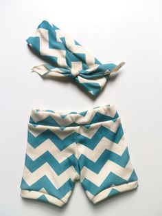 Baby Girl Clothing, Peacock Chevron Booty Bloomer Shorts and Headband Set, Newborn Photo Prop by Little Hip Squeaks on Etsy, Sold