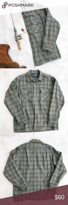 Pendleton Wool Flannel Shirt Authentic Men's Wool flannel shirt by Pendleton. Size large. 100% virgin Wool, in excellent condition. Pendleton Shirts Casual Button Down Shirts