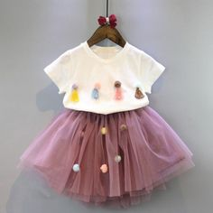 Toddler Kids Baby Girls Outfits Clothes T-shirt Tops+TuTu Dress Skirt Sets - Kids Fashion - Wedding Attire - Kids Outfit New Baby Dress, Baby Girl Dresses, Kids Outfits Girls, Girl Outfits, Toddler Fashion, Kids Fashion, Baby Skirt, Frocks For Girls, Princess Outfits