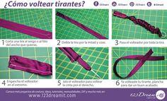 Aquí les dejamos 6 simples pasos para voltear cintas o tirantes muy fácilmente. La clave es el volteador de cintas.