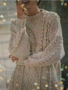 Instant PDF Download Vintage Row by Row Knitting Pattern to make Ladies Aran Inspired Oversize Loose Fitting Cable Bobble Long Sweater Dress