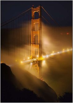 Golden Gate Bridge, SF. Terence Chang was at the right place at the right time with his camera to take this beautiful photo of the GGB at night, blanketed in fog. The sight is extremely beautiful, but the mixture of fog and smoke can also be deadly...