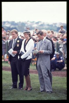 November 5, 1985: Prince Charles & Princess Diana with John Elliot at the Melbourne Cup races in Melbourne, Australia.
