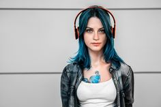 Beauty Female Portraits Concept by Andrew Vasiliev – Headphones Tattoo, Dj Headphones, Girl With Headphones, Chloe Price, Music Tattoo Designs, Man Photography, Girl Face, Dyed Hair, Girl Tattoos