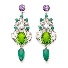 Nicky Butler Raj Green Quartz Triplet and Gem Earrings