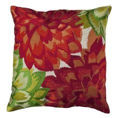Almofada Flores Bordadas vermelho verde - Kasa 57