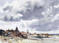 Edward Seago (1910 — 1974, UK) A Norfolk Village. watercolour. 27 x 37.5 cm. (10 5/8 x 14 3/4 in.)