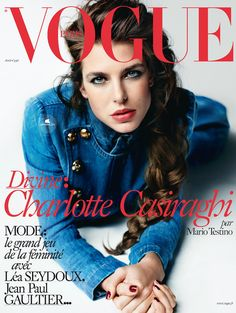 Vogue Paris April 2015 : Charlotte Casiraghi by Mario Testino - the Fashion Spot Vogue Covers, Vogue Magazine Covers, Fashion Magazine Cover, Fashion Cover, Mario Testino, Charlotte Casiraghi, Vogue Paris, The Blonde Salad, Jean Paul Gaultier