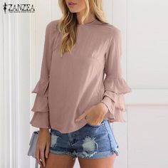 e868277bb40 ZANZEA Women Blouses Shirts 2017 Autumn Elegant Ladies O-Neck Flounce Long  Sleeve Solid Blusas Casual Loose Tops