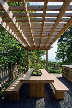 picnic table and simple but substantial  pergola by lynn