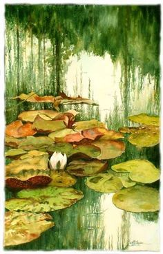 Mary Ann Boysen Reflections Among the Lily Pads, Monet's Garden After his wife died, Alice's daughter, Blanche, cared for Monet even as he developed the first signs of cataracts Monet Paintings, Paintings I Love, Landscape Paintings, Claude Monet, Monet Garden, Garden Art, Artist Monet, Impressionist Paintings, Amazing Art