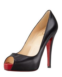 Very Prive Leather Platform Red Sole Pump, Black by Christian Louboutin at Bergdorf Goodman.