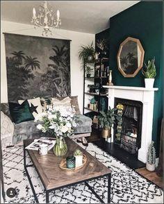 140 vintage living room design ideas you must haveer - page 7 > Homemytri. Cosy Living Room, Room Inspiration, House Interior, Living Room Inspiration, Dark Living Rooms, Front Room, Home, Dark Green Living Room, Living Room Designs