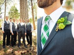 The boutineer!  I want my wedding to be very green-the color.  This is quite different and a beautiful way to use the color.