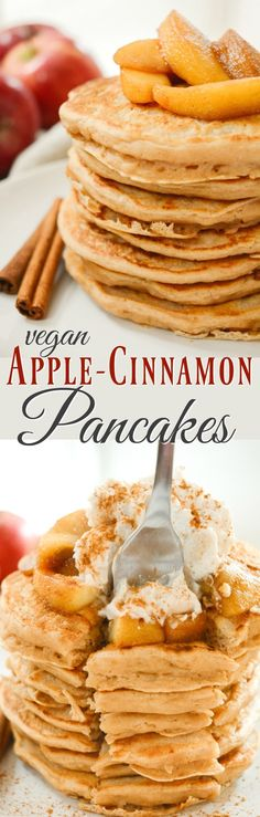 Apple Cinnamon Pancakes are like having dessert for breakfast! The cinnamon-apples & sweet whipped topping make these an irresistible vegan breakfast! Everyone will be asking for more of these egg & dairy free pancakes.
