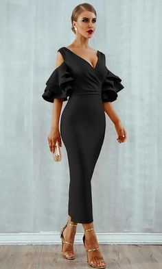 Raised Me Right Black Elbow Sleeve Ruffle Cross Wrap V Neck Cold Shoulder Bodycon Midi Dress - 7 Colors Available Elegant Dresses, Sexy Dresses, Evening Dresses, Fashion Dresses, Elegant Wedding Guest Dress, Dress Outfits, Elegant Cocktail Dress, Dress Wedding, Casual Outfits