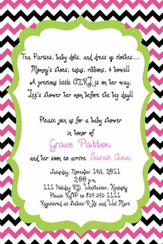 Check out TickledPinkTrinketsBoutique on Facebook for custom made baby shower invites and many other great things!!