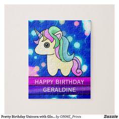 Pretty Birthday Unicorn with Glowing Balloons Jigsaw Puzzle #Onmeprints #Zazzle #Zazzlemade #Zazzlestore #Zazzlestyle #Pretty #Birthday #Unicorn #Glowing #Balloons #Jigsaw #Puzzle Happy Words, Make Your Own Puzzle, Magical Unicorn, Custom Gift Boxes, Unicorn Birthday Parties, Kawaii Cute, Pretty Pastel, School Fun, Cute Designs