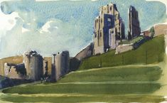 Corfe Castle, Dorset, watercolour, painting, art