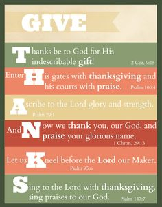 """Free Printable: """"Give Thanks"""" Thanksgiving Scripture Art - The Purposeful Mom"""