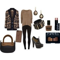 """Khaki and Black Casual"" by martha-hill-carter on Polyvore"