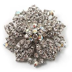 #5: Victorian Corsage Flower Brooch (Silver  Clear Crystals)