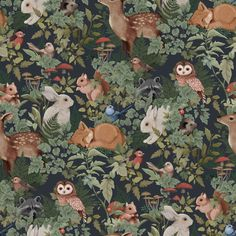 makkari DESCRIPTION Whimsical and charming describe the myriad of animals in this Fleur Harris collaborative wallpaper. Digitally hand painted Woodlands is a unique work of art featuring bunn Tier Wallpaper, Wallpaper Paste, Animal Wallpaper, Dark Wallpaper, Wallpaper Application, Swan Wallpaper, Charcoal Wallpaper, Trendy Wallpaper, Kindergarten Wallpaper