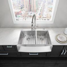 Vigo Alma 36 inch Farmhouse Apron 60/40 Double Bowl 16 Gauge Stainless Steel Kitchen Sink